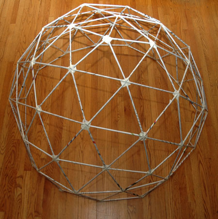 how to build a 3-frequency geodesic dome out of newspaper