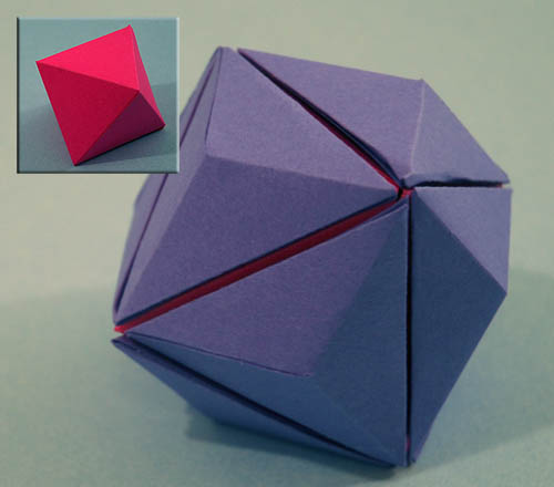 two octahedra make a rhombic dodecahedron