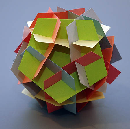 slide-together model made with pentagons
